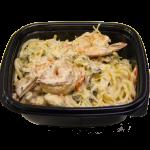 Спагетти с тигровыми креветками и мидиями в сливочном соусе