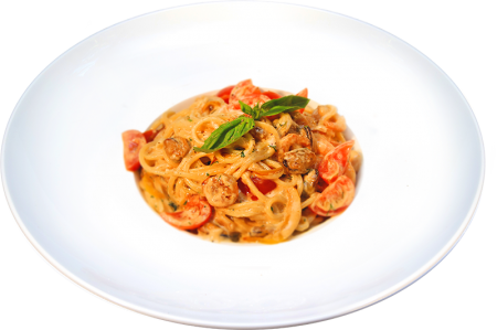 Спагетти с креветками и мидиями всливочном соусе